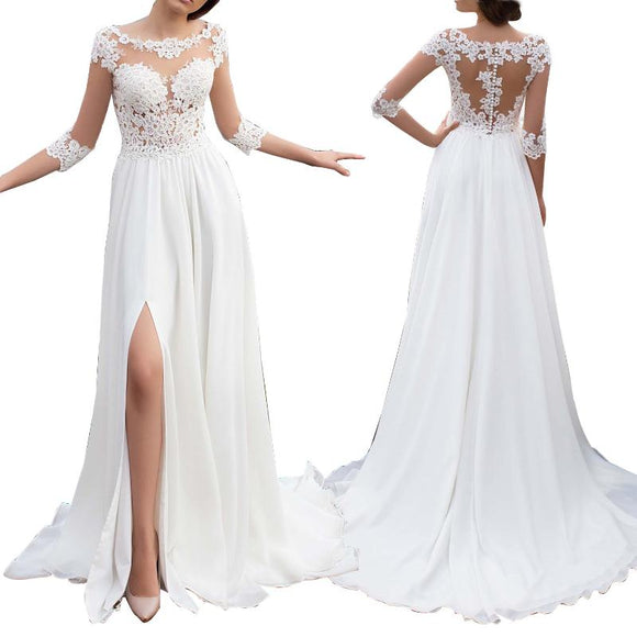 2020 3/4 Sleeves Beach Wedding Dress  Summer Boho Lace Bridal Gown Sexy Slit Leg