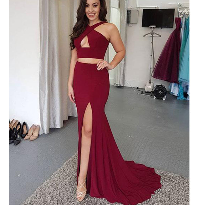 Wine Red Sexy Crop Top Long Slit Gowns Two Pieces Girls 2018
