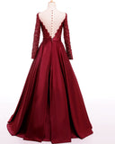 A Line Long Sleeves Robe De Soiree  Backless Burgundy Satin Long Evening Dress