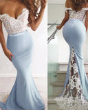 Lace Mermaid Off the Shoulder Bridesmaid Dresses Long 2019 PL544