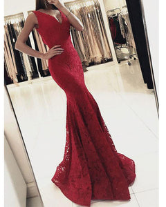 Red/navy Mermaid V Neck Lace Prom Dresses ,Long Formal Gowns PL213