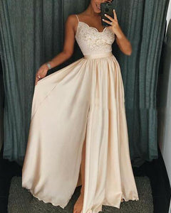1cef46c79e0 Beige long Slit Girls Prom Dresses with Lace Appliques with Straps PL118
