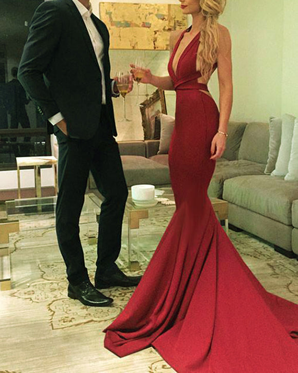 Sheath Fitted Sexy V Neck Spandex Red Prom Evening Dresses Long PL231