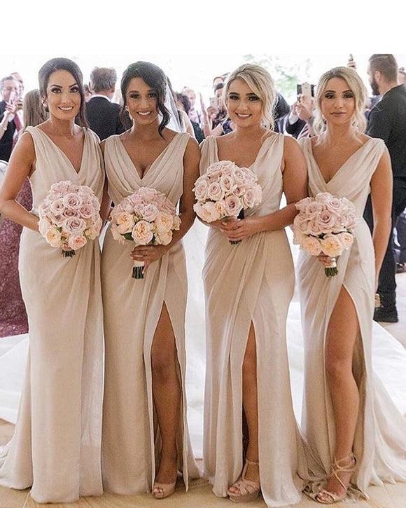 Chiffon V Neck Beige Bridesmaid Dresses Long with Slit fitted wedding parry gown PL621