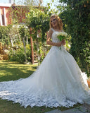Princess Ball Gown Lace White Wedding Dresses with Straps WD647