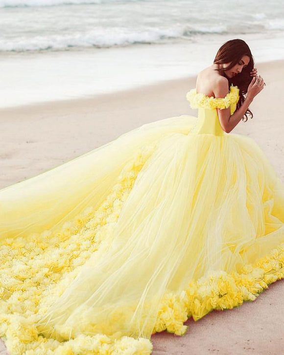 Princess Yellow Girls Sweet Sixteen Quinceanera Dresses PL1008