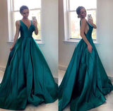 Siaoryne A Line Satin V Neck Girls Teal/Yellow Prom Dresses Long 2019 PL1115