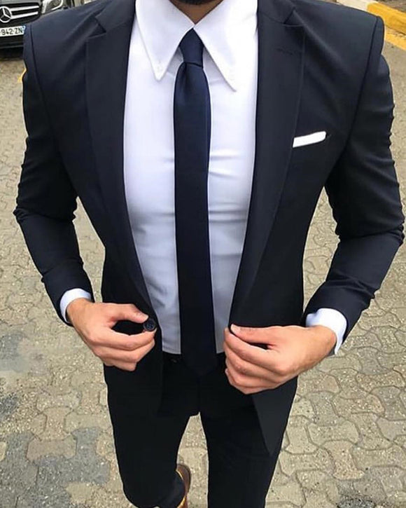 Black /Navy Notch Lapel Business Men Suit /Wedding Suit