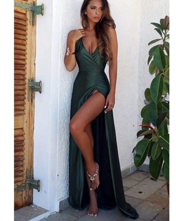 Olive Green/Navy/Burgundy Sexy High Slit Long Evening Party Dresses Women Prom Formal Gown