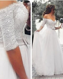 A Line Half Sleeves lace and Tulle off the Shoulder Wedding Dresses White Long Bridal Gown