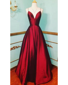 Elegant A Lien Satin Spaghetti Long Prom Dresses Red PL1130
