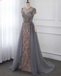 Stunning Gray Beaded Cap Sleeve Long Prom Evening GownPL4441