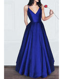 Royal Blue/Red Satin A Line  Girls Prom Dress with Spaghetti Straps vestidos de niña