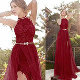 Burgundy Halter Lace Long Evening Formal Gown Prom dress with Sexy Slit LP0280