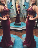 Fancy Halter 2 Pieces Girls Senior Fitted Burgundy Red Long Prom Gown PL113