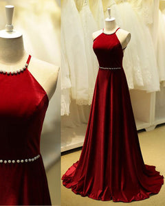 Halter Red Velvet Prom Dress Long Women Formal Evening party Gown