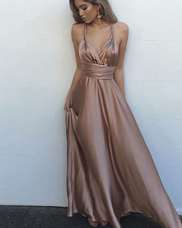 Chocolate Brown Spaghetti Straps Sexy Long Evening Party Dresses PL112