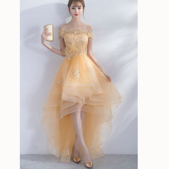 01e1e2d692c Dreamy Yellow Lace short Sleeves High Low Prom Dresses Girls Graduation  Gown with