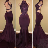 Halter Lace Spandex Evening Prom Dresses Long Women Gown LP5873