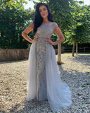 In Stock Fast Shipping Silver Gray Heavy Beading Stones Senior Prom Evening Dress Girls Pageant Gown PL4152