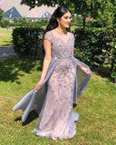 PL4441 Stunning Gray Beaded Stones Cap Sleeve Long Prom Evening Gown  Formal outfit