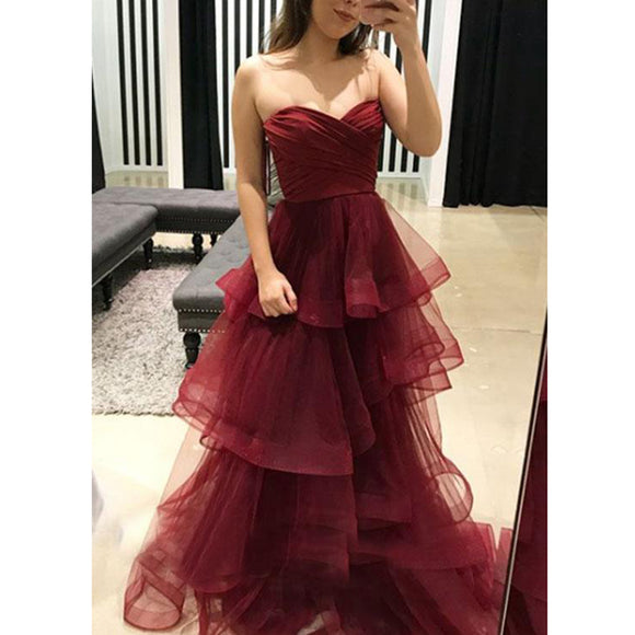 Amazing Sweetheart Tiered Tulle Burgundy Prom Dress Long Girls Graduation Gown 2020