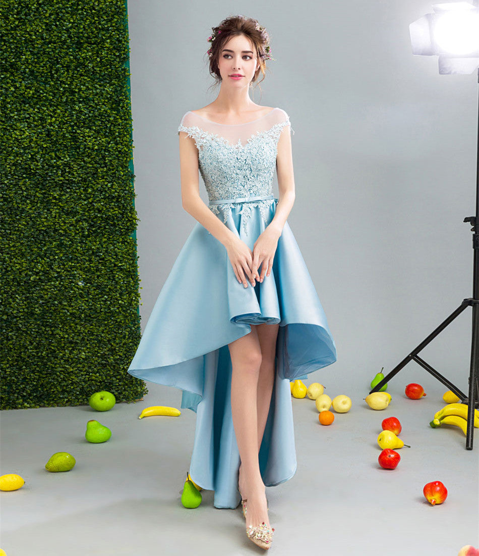 2018 Lovely Custom made high low dresses blue Girls Lace Prom Party ...