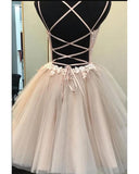 Siaoryne Champagne Tulle Lace Short Prom Homecoming Dress for Young Girls SP320