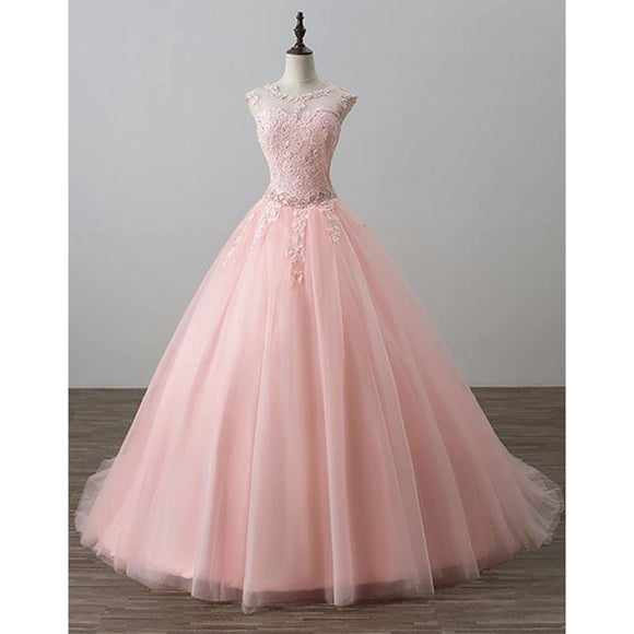 Blush Pink Ball Gown Prom Dresses Lace Girls Sweet 16 Quinceanera Dresses Debutante Gown