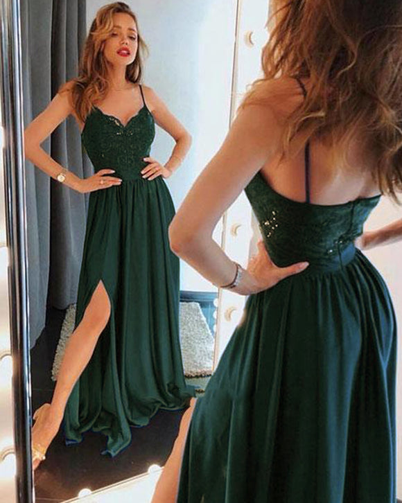 Dark Green Spaghetti Straps Lace Appliqued Split Prom Dresses Long Vestido PL234