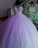 Siaoryne Amazing Pink Scoop Neck Girls Sweet Sixteen Prom Dresses Quinceanera Ball Gown with Beading PL7332