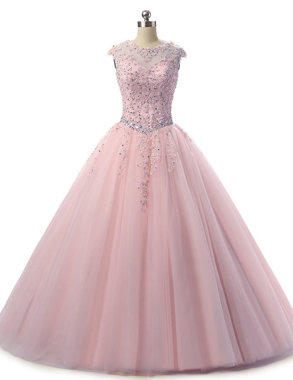 Pink Ball Gown Tulle and Lace Quinceanera Dress Girls Sweet 16 Dress Vestidos De 15 Ano  Floor Length PL0504