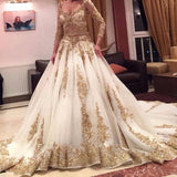 Siaoryne Muslim Custom Made Champagne Appliqued Lace Wedding Dress Long Sleeves