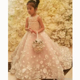 Sweet White Flower girl dresses with Bowknot for Weddings Little Girl Party Gown