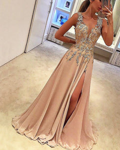 Champagne V Neck Lace Long Prom Dress Women Evening Party Gown LP548