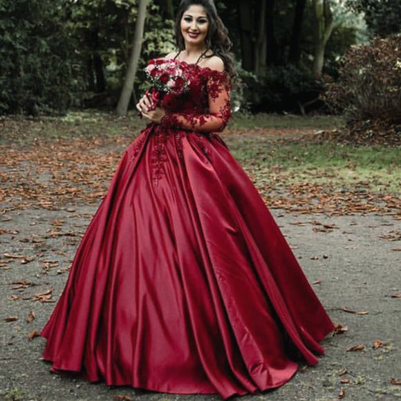 Luxury Lace Beaded Long Sleeves Dubai Dark Red /Wine Wedding Dresses Ball Gown Bridal Gown for Reception WD5541