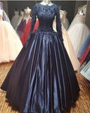 Navy Ball Gown Wedding Dresses Lace Women Prom Gown Vestido De Festa 2018