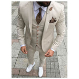 Beige Casual Men Suits Prom Tuxedo Slim Fit 3 Piece Groom Style mens Suits Custom Blazer Terno