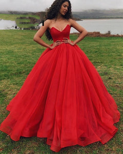 Princess Corset Organza Sweetheart Ball Gown Prom Dresses Sweet 16 Quinceanera Gown PL2121