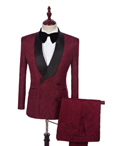 Men Suit 2018 Wedding Suits For Men Shawl Collar 3 Pieces Slim Fit Burgundy Tuxedo Jacket