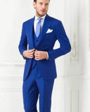 Blue  Single Breasted Men Suits peak lapel Formal Wedding Groom two buttons Tuxedos 3 pieces LP221