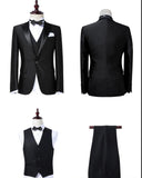 High Quality Black/Navy Groom Suits Men's Slim Fit 3 Piece One Button Blazer Peak lapel Tuxedos for men