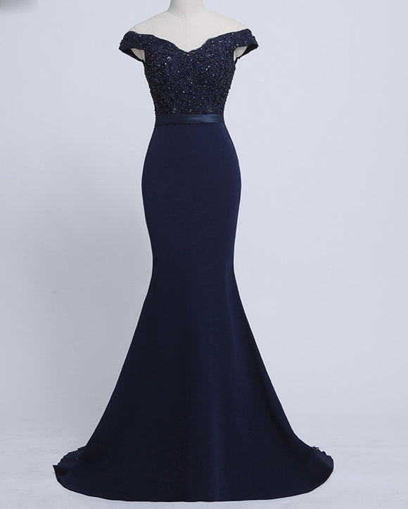 Navy/Pink Women Lace Mermaid Bridesmaid Dresses  Long  2019