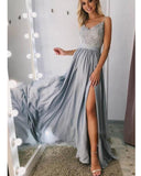 SIlver Gray Long Evening Dress with Straps, Women Fomal Split Prom Gown PL0709