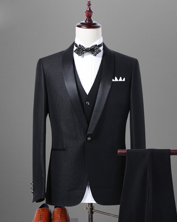 Black/Navy shawl lapel Tuxedos for Men Formal Men Groom Suits 3 Pieces (Jacket+Vest+Pants) LP332