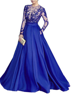 Siaoryne 2020 Silk Chiffon Long Sleeves Vintage Evening Gowns Prom Dresses with Lace Beaded