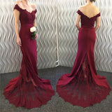 Red Prom Dress Jersey Long Women  Formal Wear with Lace Appliqued LP3241