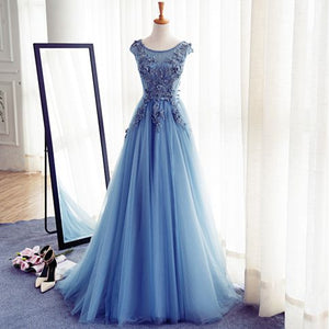 Elegant Scoop Neck Lace Blue Long Prom Dress Graduation Gown for High School Senior Party Gowns