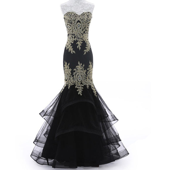 LP3359 Mermaid Black Prom Dress with Gold Lace Appliqued Evening Long Gown for Women 2018