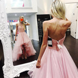 Gorgeous Pink High Low Prom Dress Beaded Front Short Long Back Girls Graduation Long Dress